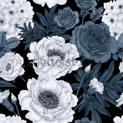 Quadro Fundo floral preto e branco com rosas, peônias, hortênsias, cravos.