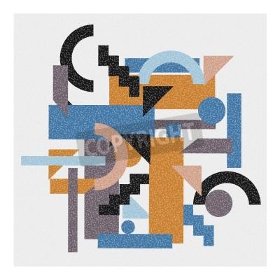 Quadro Fundo geométrico abstrato no estilo do cubism.