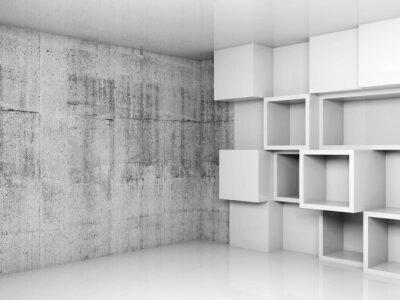 Quadro Fundo interior vazio abstrato com cubos brancos