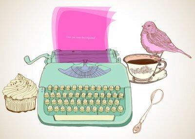 Quadro fundo retro máquina de escrever