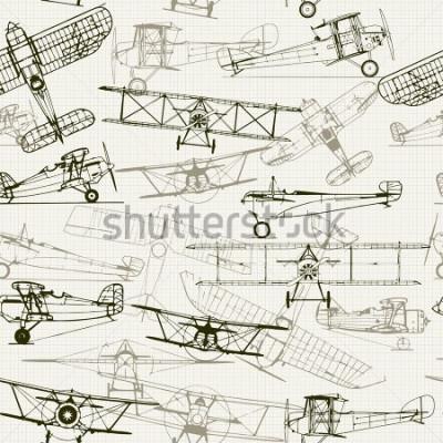 Quadro Fundo sem costura vintage. Composição de ilustração de avião estilizado. a textura do papel milimetrado pode ser desativada. Pode ser usado para papel de parede, preenchimentos de padrão, plano de div