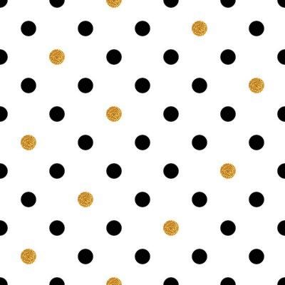 Quadro Fundo sem emenda do às bolinhas no ouro e nas cores pretas.