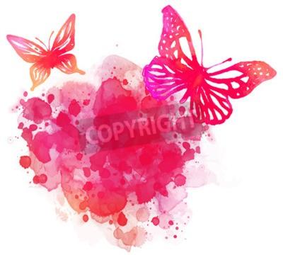 Quadro Fundo surpreendente da aguarela com borboleta. Vector arte isolado no branco