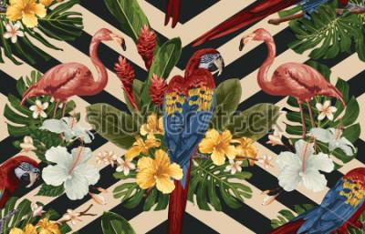 Quadro Fundo tropical sem alteração do teste padrão com flores tropicais, ou escarlate da arara vermelha e flamingo. Ilustração tropical em estilo havaiano vintage.