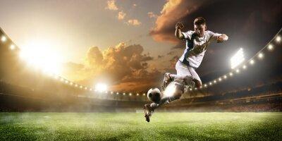 Quadro Futebol, jogador, ação, pôr do sol, estágio, panorama, fundo