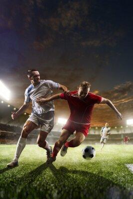 Quadro Futebol, jogadores, ação, pôr do sol, estádio, fundo