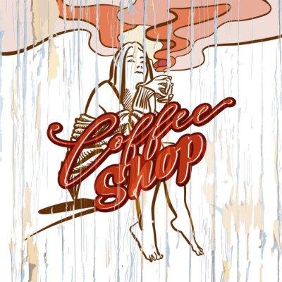 Quadro Garota de coffee shop desenho sobre fundo de madeira