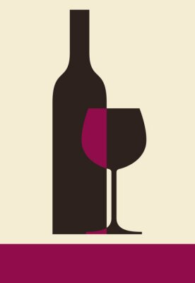 Quadro Garrafa de vinho e vidro. Projeto Carta de vinhos