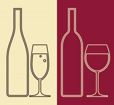 Quadro Garrafas e copos de vinho e champanhe