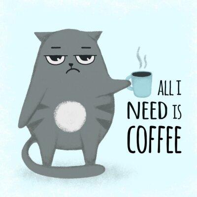 Quadro Gato desenhado dos desenhos animados azul bonito mão com xícara de café. Gato segurando uma xícara.