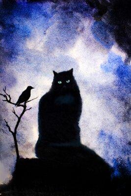 Quadro gato preto com olhos verdes