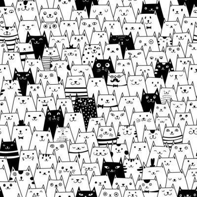 Quadro Gatos, seamless, vetorial, Padrão
