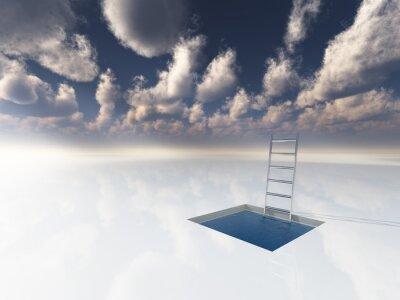 Quadro Gelo como a superfície com piscina de água e escada
