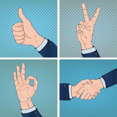 Quadro Gestos De Mão Definidos No Estilo Comic Pop Art