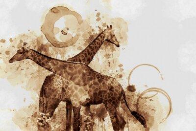 Quadro Girafa. Arte Digital mancha de café ofegante.
