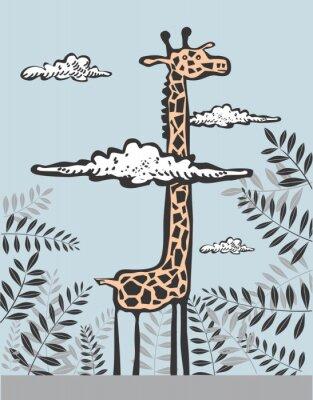 Quadro Girafa engraçado em nuvens