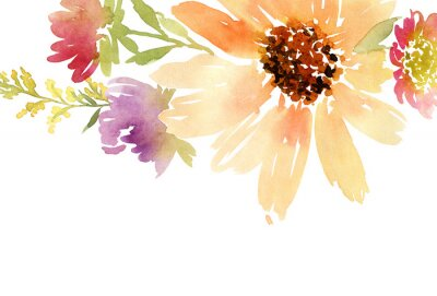 Quadro Girassóis cartão aguarela. Wedding. Fundo floral.