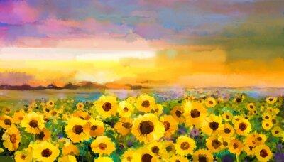 Quadro Girassol amarelo dourado da pintura a óleo, flores da margarida nos campos. Paisagem do prado do por do sol com wildflower, monte e céu na laranja, fundo violeta azul. Mão, pintura, verão, floral, imp