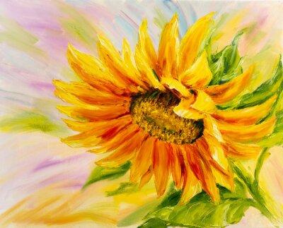 Quadro Girassol, pintura a óleo sobre tela