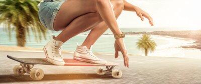Quadro Girl cruising with her longboard