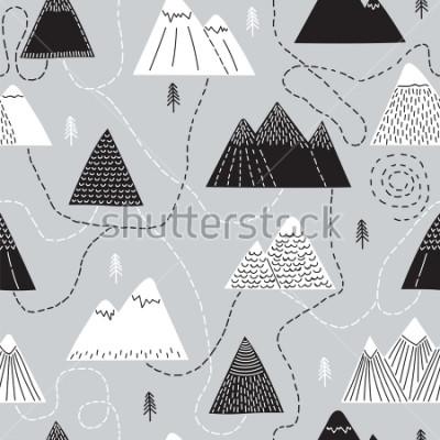 Quadro Giro de mão desenhada sem costura padrão com árvores e montanhas. Fundo da floresta escandinavo criativo. Floresta. Desenho elegante. Ilustração vetorial