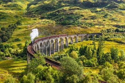 Quadro Glenfinnan, ferrovia, viaduto, Escócia, Jacobite, vapor ...