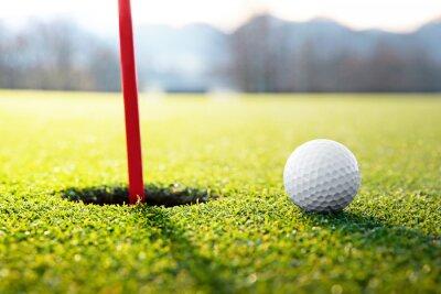 Quadro golf ball near the hole
