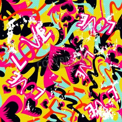 Quadro Graffiti Dia dos Namorados fundo transparente grunge textura