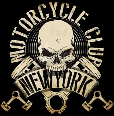 Quadro Gráfico do T do emblema do crânio do motociclista d