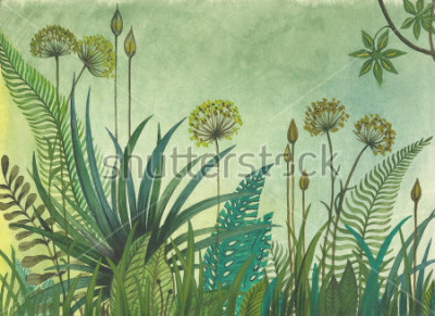 Quadro Grama verde que cresce na selva. ilustração pintada com aquarelas