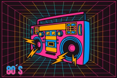 Quadro Gravador de festa retrô dos anos 80 dos anos 80 do partido, estilo cartoon de néon