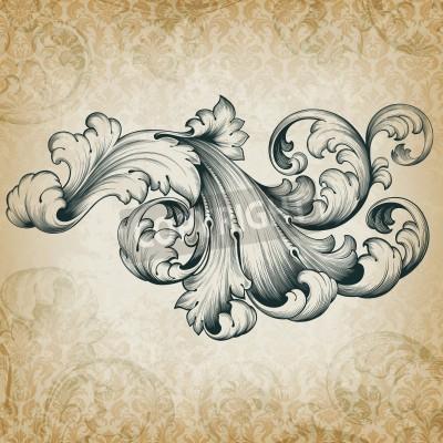 Quadro gravura barroco floral filigrana rolagem projeto quadro fronteira elemento padrão de acanto do vintage no fundo do damasco retro grunge