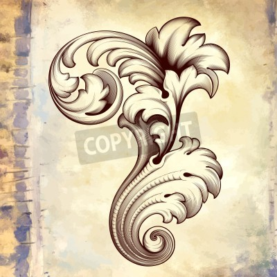 Quadro gravura barroco floral filigrana rolagem projeto quadro fronteira elemento padrão de acanto do vintage no fundo retro grunge
