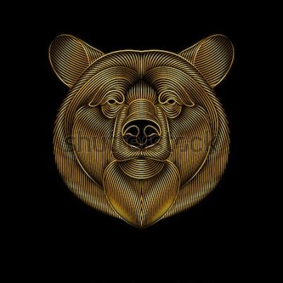 Quadro Gravura do urso dourado estilizado no fundo preto. Desenho linear.