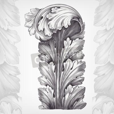 Quadro gravura do vintage enfeite de acanto folha com padrão retro em estilo rococó antigo decorativo vector