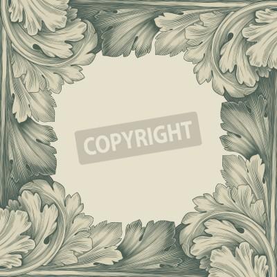 Quadro gravura do vintage quadro fronteira com retro padrão de ornamento em estilo rococó antigo decorativo