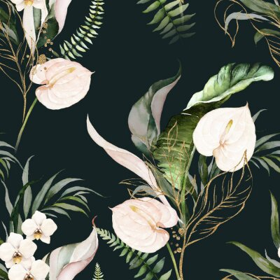 Quadro Green tropical leaves and blush flowers on dark background. Watercolor hand painted seamless pattern. Floral tropic illustration. Jungle foliage.