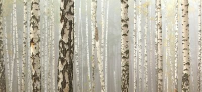 Quadro Grove of birch trees and dry grass in early autumn, fall panorama