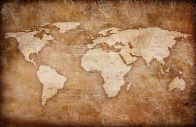 Quadro grunge fundo mapa do mundo