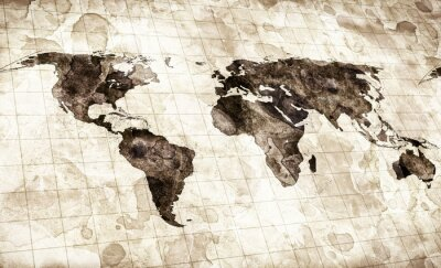 Quadro grunge manchado mapa do mundo