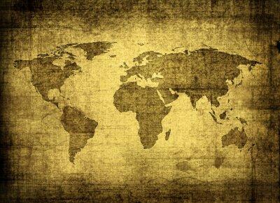 Quadro grunge mapa do mundo