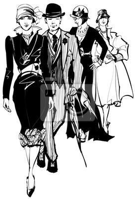 Quadro Grupo de pessoas que desgastam o vestido 1910-1940