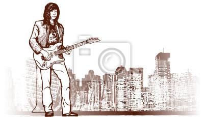 Quadro guitarrista no fundo do grunge