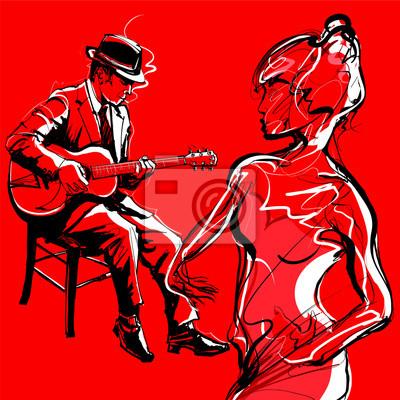 Quadro Gypsy jogador guitarra jazz e dança mulher
