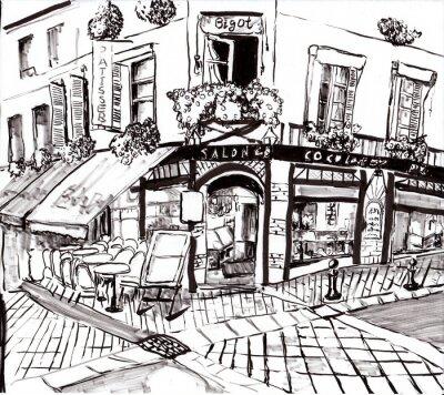 Quadro hand draw paris coffee shop
