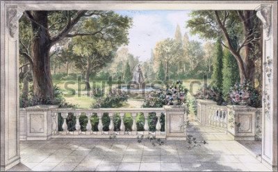 Quadro Hand drawn watercolor sketch with landscape and fountain. The view from the terrace on garden with trees, flowers and fountain. View from the balcony on the garden.
