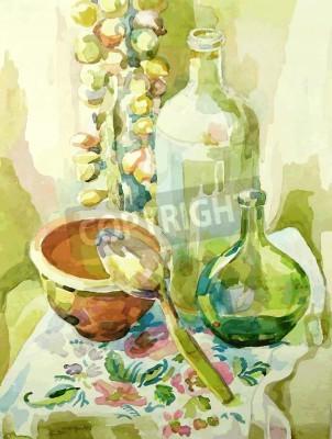 Quadro Handmade aguarela cozinha ainda vida com pote, garrafa de vidro, colher e arco