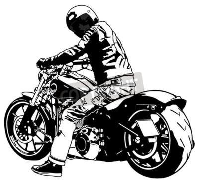 Quadro Harley Davidson and Rider - Ilustração em preto e branco, vetor