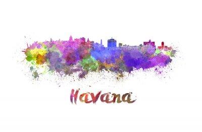 Quadro Havana skyline em aquarela