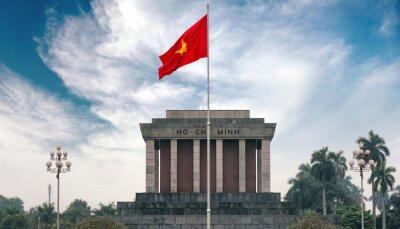 Quadro Ho Chi Minh mausoléu em Hanói, com bandeira comunista vermelho